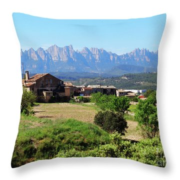 Catalan Landscape In Spring Throw Pillow