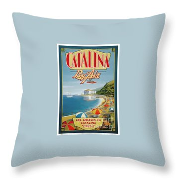 Catalina By Air Throw Pillow by Nostalgic Prints