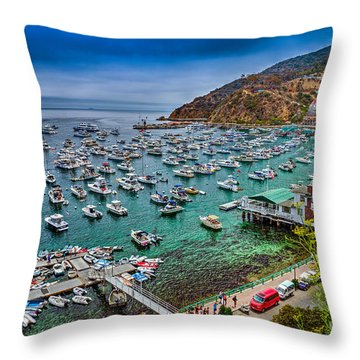 Catalina Island  Avalon Harbor Throw Pillow by David Zanzinger