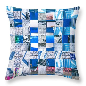 Throw Pillow featuring the mixed media Catalogue Blues by Jan Bickerton