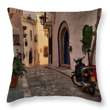 Throw Pillow featuring the photograph Catalonia - The Town Of Sitges 004 by Lance Vaughn