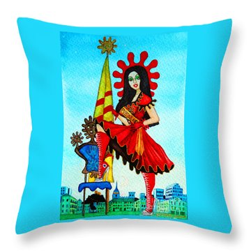 Throw Pillow featuring the painting Catalan Girl In Converse by Don Pedro De Gracia