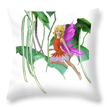 Catalpa Tree Fairy Among The Seed Pods Throw Pillow