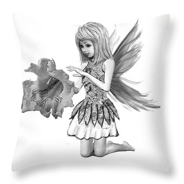 Catalpa Tree Fairy With Flower B And W Throw Pillow