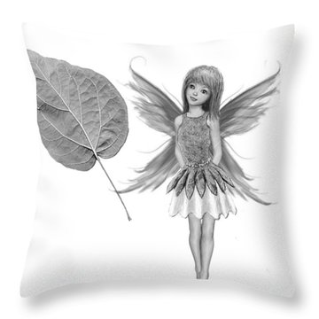 Catalpa Tree Fairy With Leaf B And W Throw Pillow
