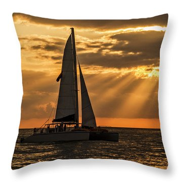 Throw Pillow featuring the photograph Catamaran Sunset Cruise In Key West by Bob Slitzan