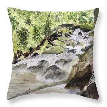 Catawba Falls - A Watercolor Sketch Throw Pillow