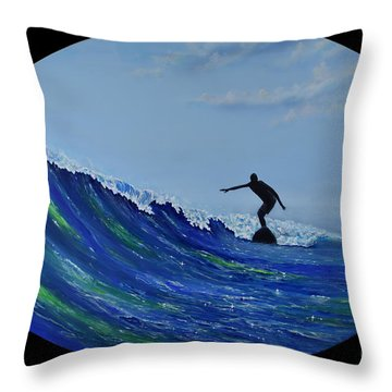 Throw Pillow featuring the painting Catch A Wave by Mary Scott