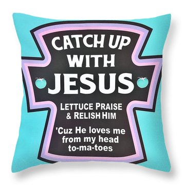 Throw Pillow featuring the photograph Catch Up With Jesus  Alt by Rob Hans