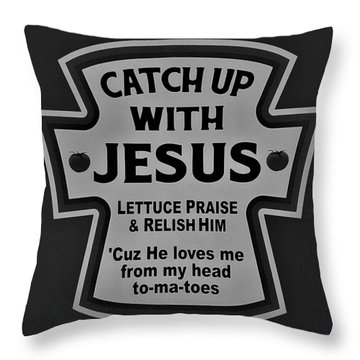 Throw Pillow featuring the photograph Catch Up With Jesus B W by Rob Hans