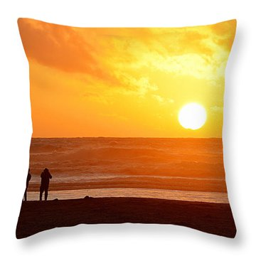 Catching A Setting Sun Throw Pillow by AJ Schibig