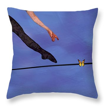 Throw Pillow featuring the painting Catching Butterflies by Steve Karol