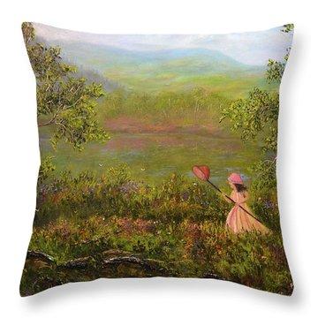 Catching Butterflys Throw Pillow