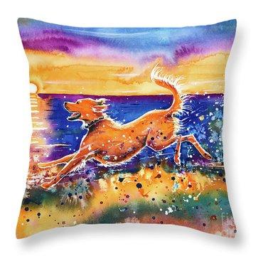 Throw Pillow featuring the painting Catching The Sun by Zaira Dzhaubaeva