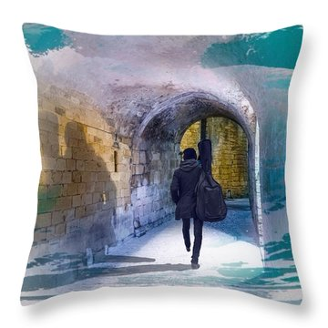 Catching The Tube With My Guitar Throw Pillow