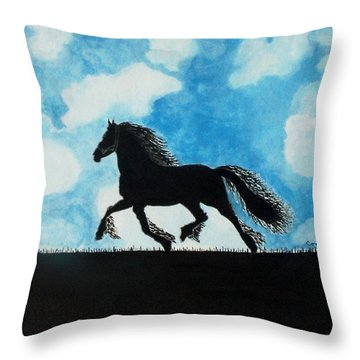 Throw Pillow featuring the painting Catching The Wind by Connie Valasco