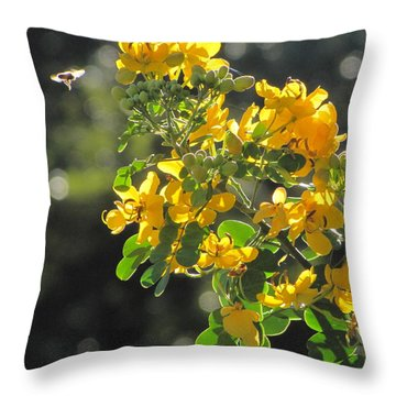 Catchlight Bee Over Yellow Blooms Throw Pillow