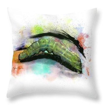 Caterpillar Drawing Throw Pillow