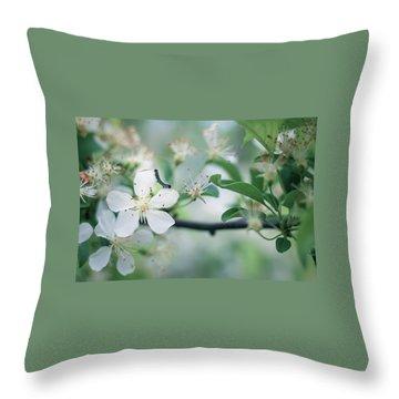 Caterpillar On A Tree Blossom Throw Pillow
