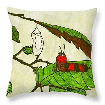 Throw Pillow featuring the drawing Caterpillar Whimsy by Wendy McKennon