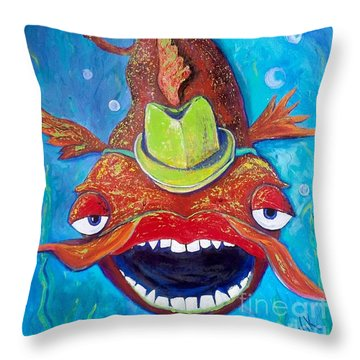 Catfish Clyde Throw Pillow