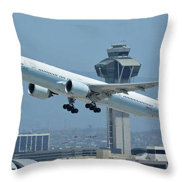 Throw Pillow featuring the photograph Cathay Pacific Boeing 777-367er B-kph Los Angeles International Airport May 3 2016 by Brian Lockett