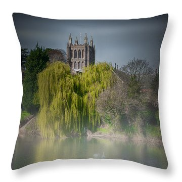 Cathedral In The Mist Throw Pillow