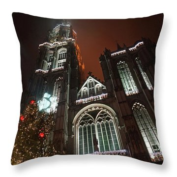 Cathedral In The Mist Throw Pillow by Erik Tanghe