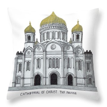 Cathedral  Of Christ The Savior - Moscow Throw Pillow by Frederic Kohli