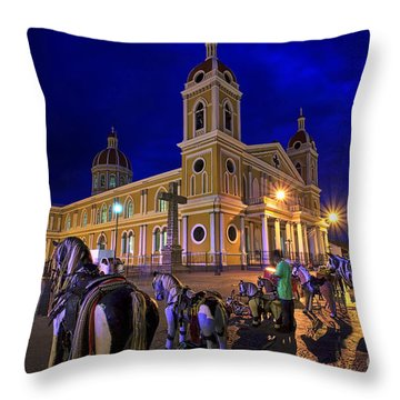 Cathedral Of Granada Shines Brightly Throw Pillow