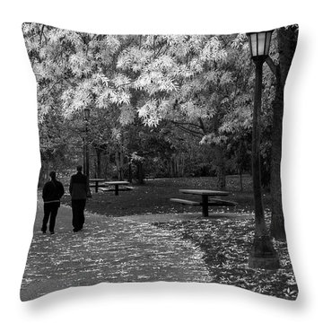 Cathedral Park In Fall Bw Throw Pillow