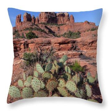Cathedral Rock Cactus Grove Throw Pillow