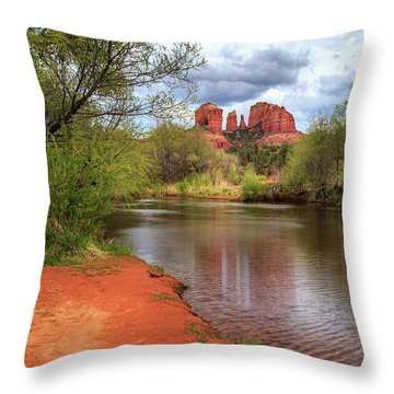 Throw Pillow featuring the photograph Cathedral Rock From Oak Creek by James Eddy