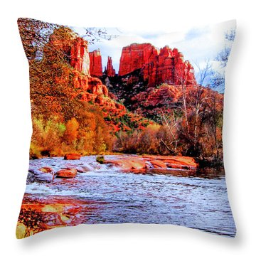 Throw Pillow featuring the photograph Cathedral Rock by Howard Bagley