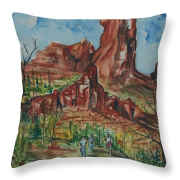 Hiking Cathedral Rock,  Sedona, Az. Throw Pillow