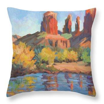 Moonrise Cathedral Rock Sedona Throw Pillow