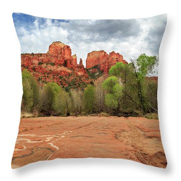Throw Pillow featuring the photograph Cathedral Rock Sedona by James Eddy