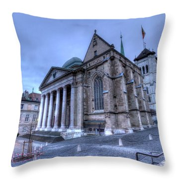 Cathedral Saint-pierre, Peter, In The Old City, Geneva, Switzerland, Hdr Throw Pillow