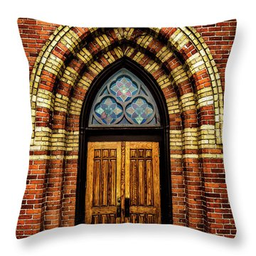 Cathedral Tower Door Throw Pillow by Onyonet  Photo Studios