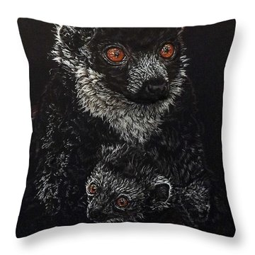 Catherina And Baby Abby Throw Pillow by Linda Becker