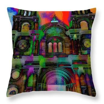 Throw Pillow featuring the photograph Catholic Church At Chordeleg, Ecuador by Al Bourassa