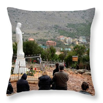 Catholic Pilgrim Worshipers Pray To Virgin Mary Medjugorje Bosnia Herzegovina Throw Pillow