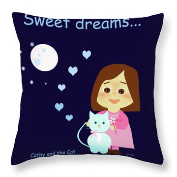 Cathy And The Cat Sweet Dreams Throw Pillow