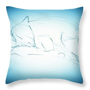 Catnap Throw Pillow by Denise Fulmer
