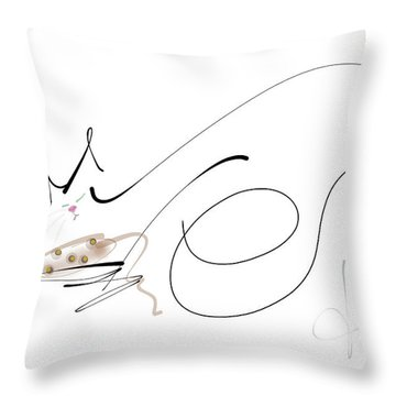Throw Pillow featuring the mixed media Catnap With The Faithful Old Catnip Mouse by Larry Talley