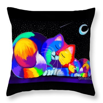 Throw Pillow featuring the drawing Catnaps For Two by Nick Gustafson