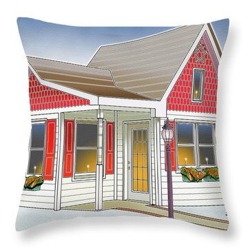 Catonsville Santa House Throw Pillow by Stephen Younts