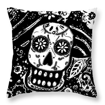 Throw Pillow featuring the painting Catrina Dia De Los Muertos by Pristine Cartera Turkus