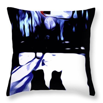 Cats And Cardinal Throw Pillow