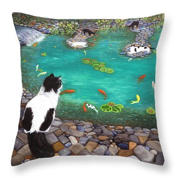 Throw Pillow featuring the painting Cats And Koi by Karen Zuk Rosenblatt
